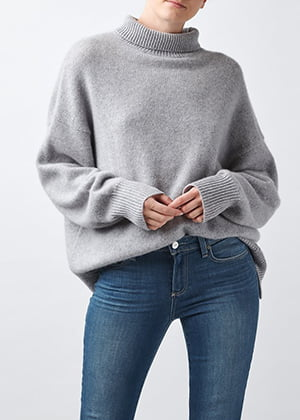 360 CASHMERE - Leia Roll Neck In Light Heather