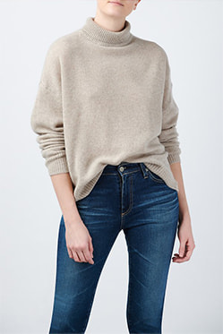 360 CASHMERE - Leia Roll Neck In Sesame