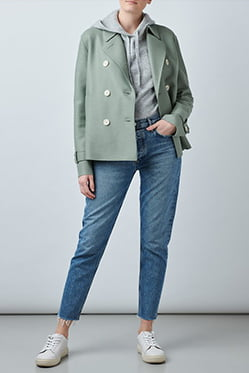 HARRIS WHARF LONDON - Cropped Trench Coat In Rosemary