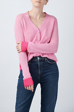 JUMPER 1234 - Contrast Cardigan In Flamingo Neon Pink