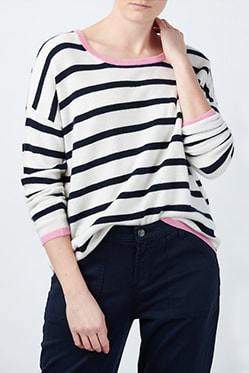 JUMPER 1234 - Striped Crew In Cream Navy Flamingo