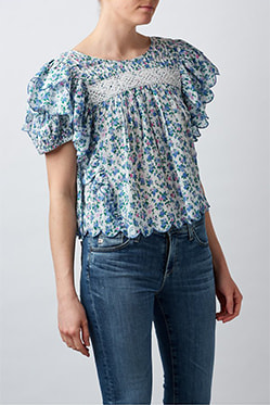 LOVESHACKFANCY - Nelson Blouse In Blue Jay Song